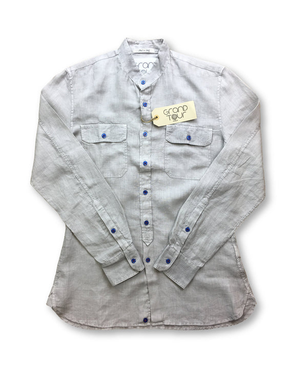 Grand Tour linen shirt in pale grey- khakisurfer.com Latest menswear designer brands added include Eton, Etro, Agave Denim, Pal Zileri, Circle of Gentlemen, Ralph Lauren, Scotch and Soda, Hugo Boss, Armani Jeans, Armani Collezioni.