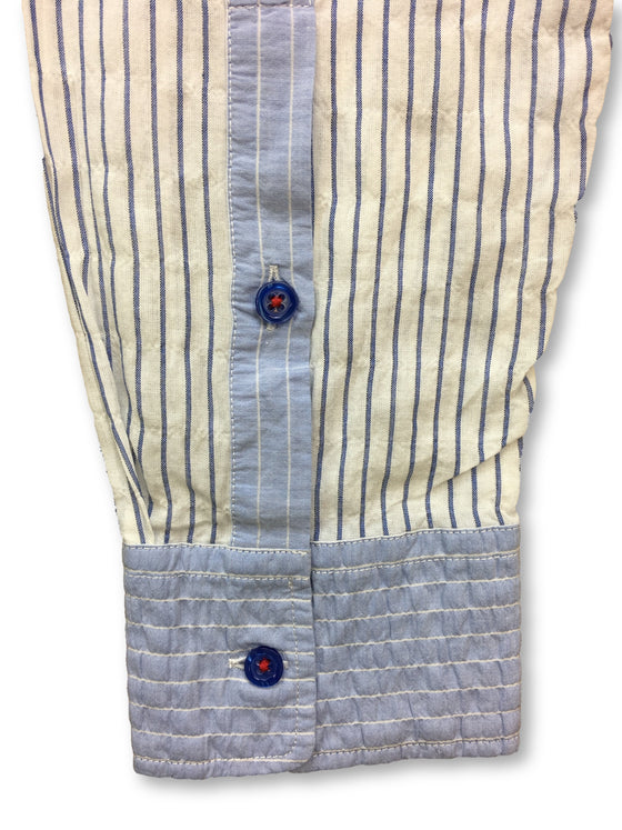 Grand Tour linen shirt in white and blue stripe- khakisurfer.com Latest menswear designer brands added include Eton, Etro, Agave Denim, Pal Zileri, Circle of Gentlemen, Ralph Lauren, Scotch and Soda, Hugo Boss, Armani Jeans, Armani Collezioni.