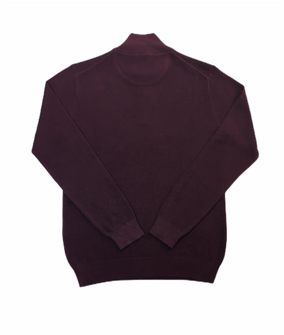 Gant pique half zip waffle cotton knitwear in purple fig