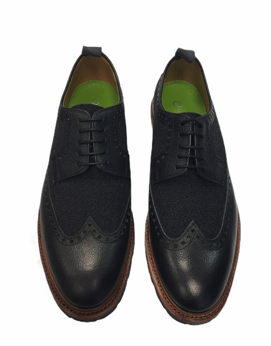 Oliver Sweeney Ulmann Buffalo derby brogues in black with canvas insert