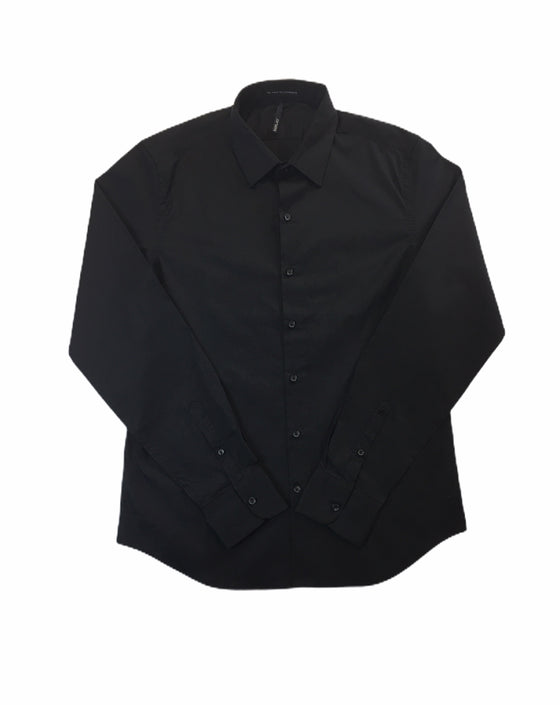 Replay slim fit long sleeve cotton shirt in black