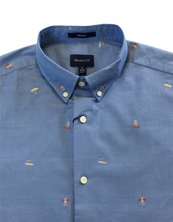 Gant short sleeve cotton casual shirt in blue with woven surfer design
