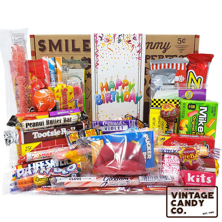 Happy Birthday Nostalgia Candy Care Package For Birthday Girl or Boy