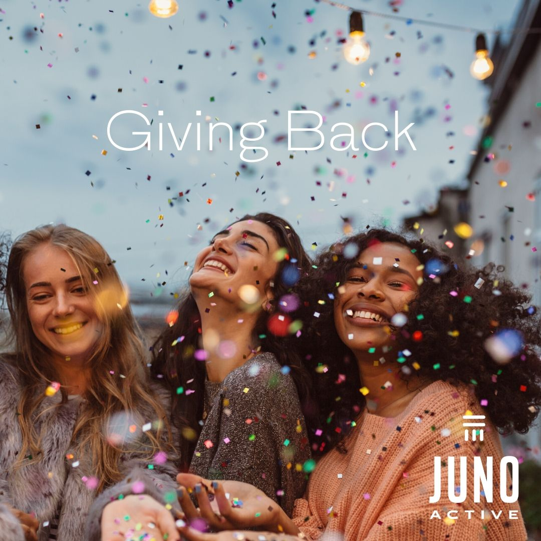 JunoActive plus size clothing giving back women celebrating with confetti