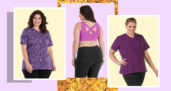 1c31051bb7 plus size active · In the Details  Limited Edition Purple Print Stretch  Naturals Collection