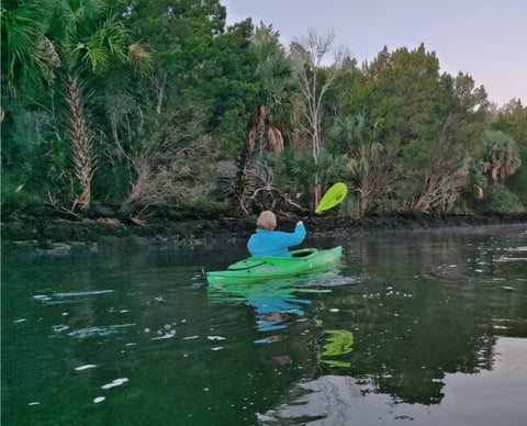 Anne Kelly kayaking the Crystal River in Florida