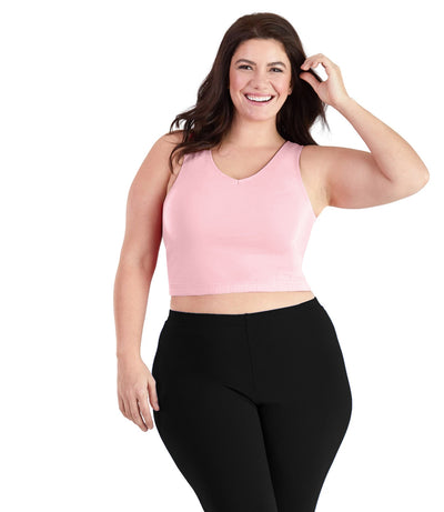 SupraKnit™ Long-Line V-Neck Bra Top-Shop by Activity-Osheka, Inc-XL-Petal Pink-JunoActive