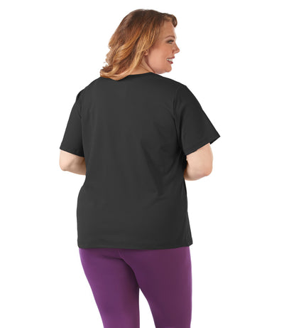 women's plus size activewear top black