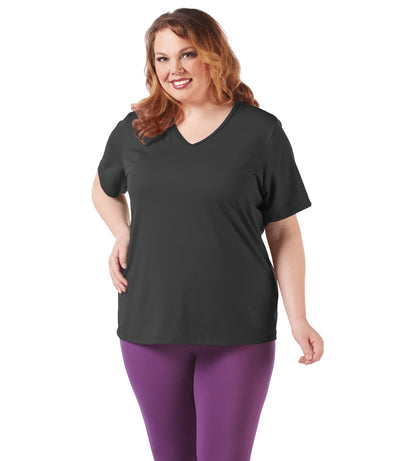 women's plus size activewear top tee black