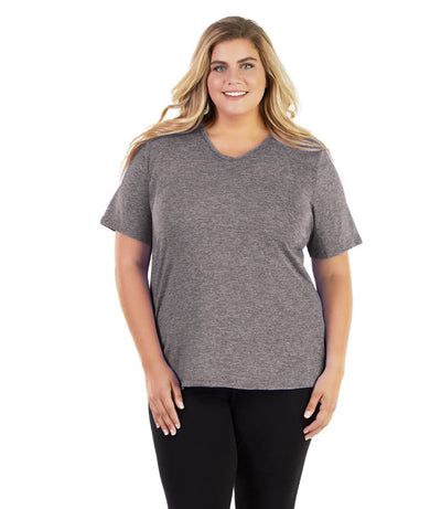 SoftWik® Basic V-Neck Tee-Shop by Activity-Osheka, Inc-1X-Heather Grey-JunoActive