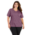 SoftWik® V-Neck Tee-Tops Short Sleeve-Osheka, Inc-XL-Heather Merlot-JunoActive