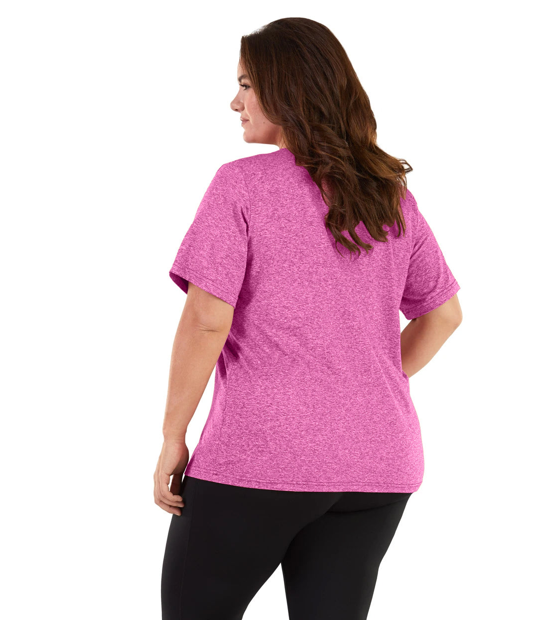 SoftWik Basic V-Neck Tee-Tops Short Sleeve-Osheka, Inc-XL-Heather fuschia-JunoActive