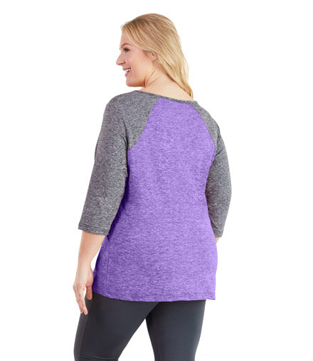 SoftWik® Scoop Neck Contrast 3/4 Sleeve Top in Violet/Gray - JunoActive