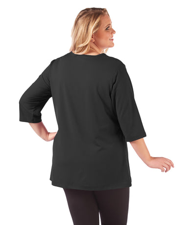 plus size yoga top black