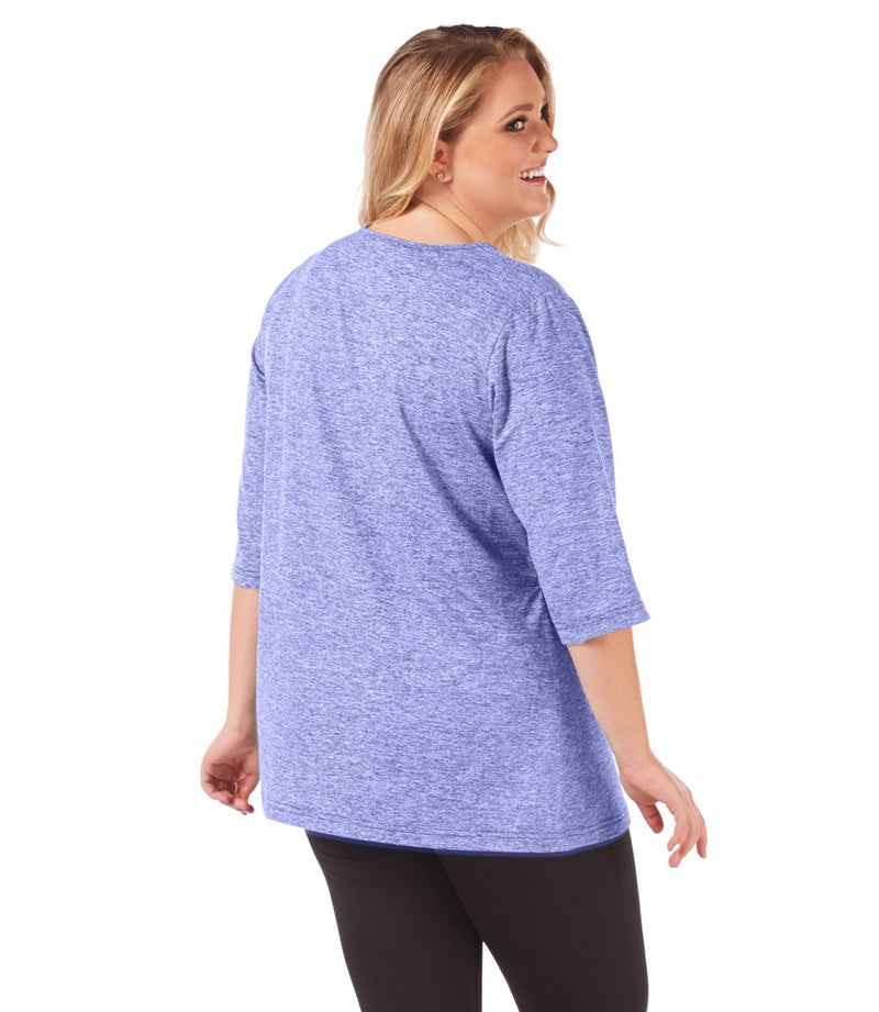 SoftWik® Scoop Neck 3/4 Sleeve Top in Heather Violet-soft-Osheka, Inc-1X-JunoActive