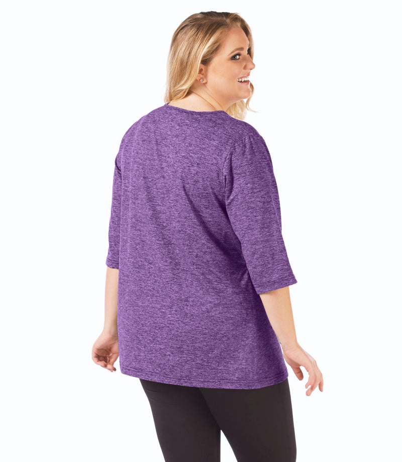 SoftWik® V-Neck Tunic in Heather Purple-Plus Size Activewear & Athletic Clothing-Osheka, Inc-XL-Heather Purple-JunoActive