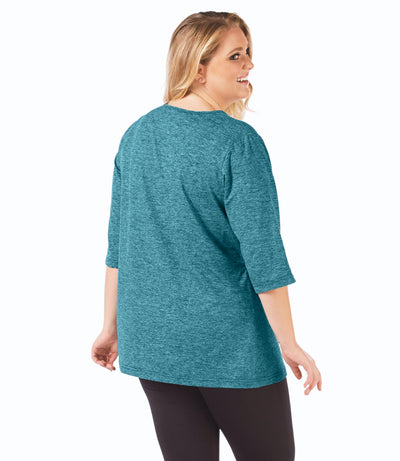 SoftWik® V-Neck Tunic in Ocean Blue-Plus Size Activewear & Athletic Clothing-Osheka, Inc-JunoActive
