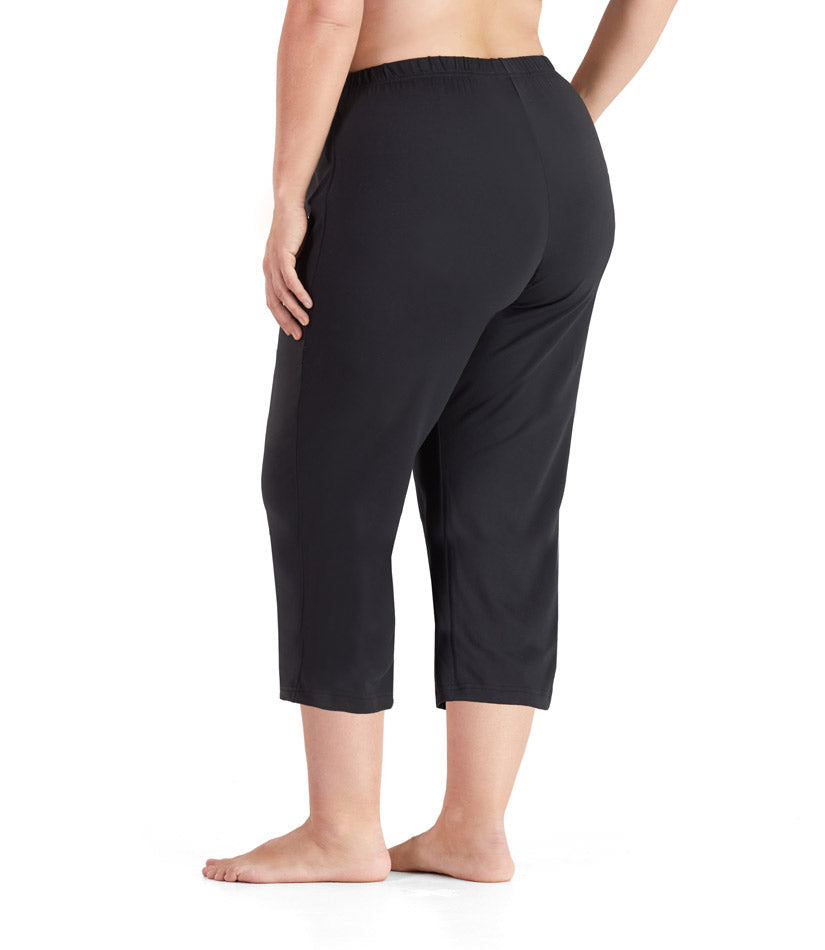 SoftWik® Long Capris with Pockets in Black
