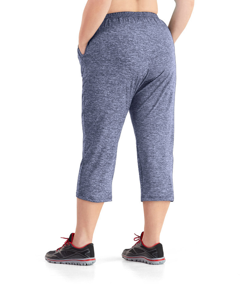 SoftWik® Long Capris with Pockets in Heather Navy