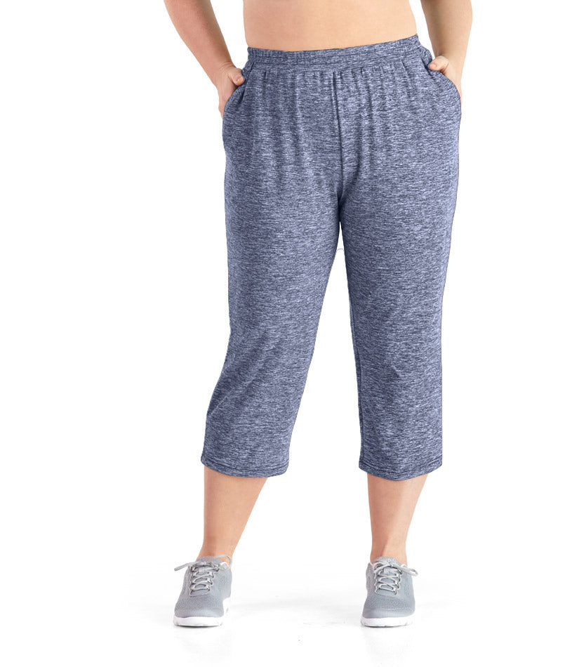 SoftWik® Long Capris with Pockets in Heather Navy - JunoActive