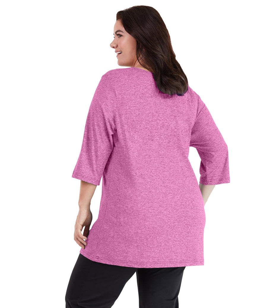 SoftWik® 3/4 Sleeve Crew Neck Tunic in Heather Fuchsia