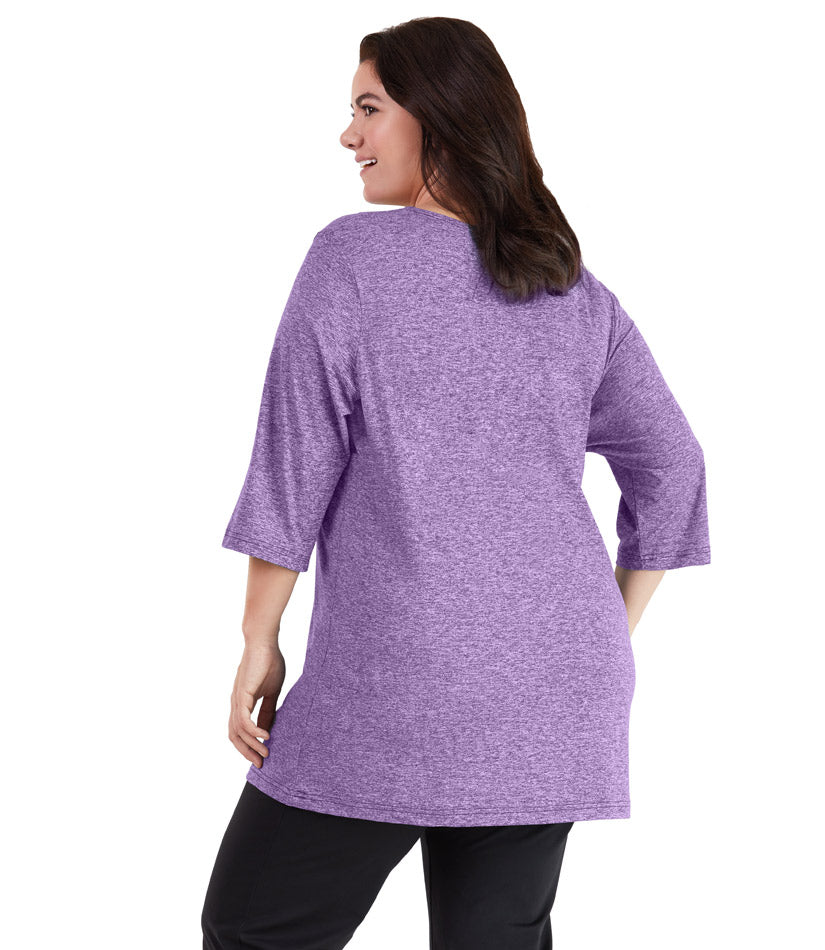 SoftWik® 3/4 Sleeve Crew Neck Tunic in Heather Violet - JunoActive