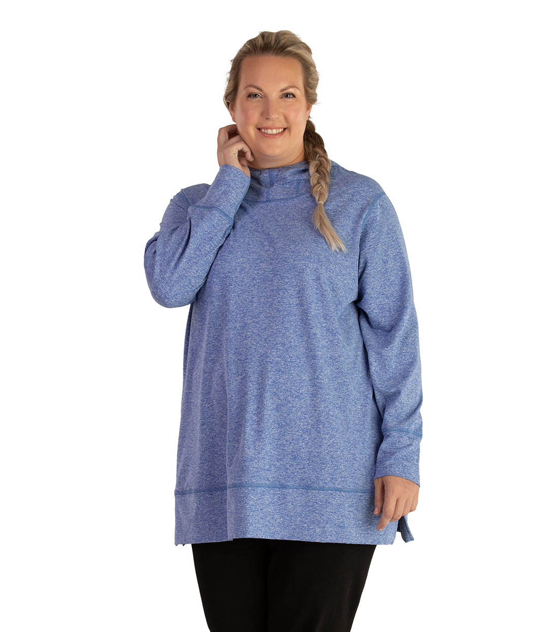 SoftWik Long Sleeve Hoodie-Tops Long Sleeve Hoodie-Osheka, Inc-XL-HEATHER ROYAL-JunoActive
