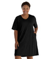 SoftWik® Short Sleeve Dress with Pockets-Tops Dress-Osheka, Inc-XL-Black-JunoActive