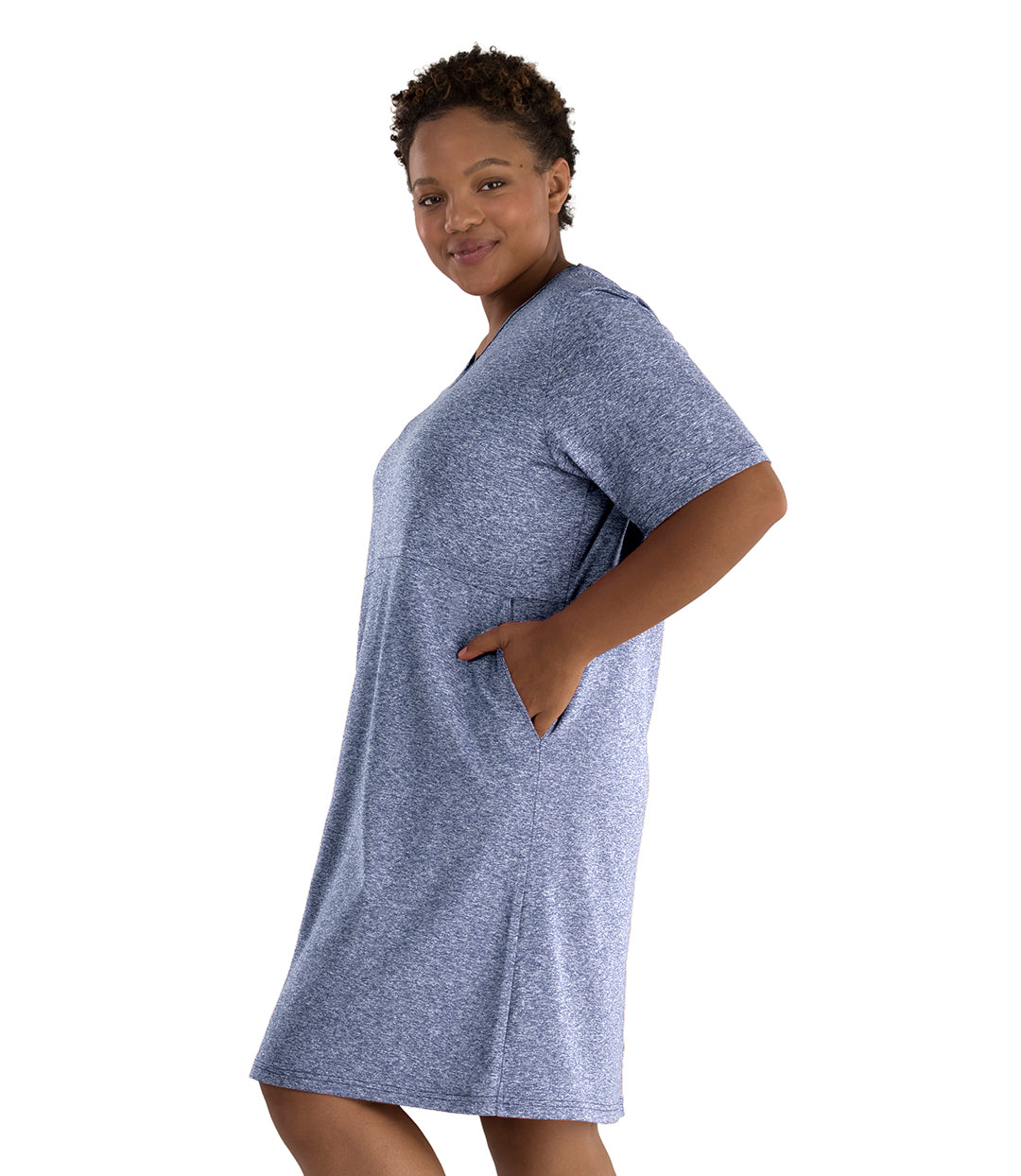 SoftWik® Short Sleeve Dress with Pockets-Tops Dress-Osheka, Inc-XL-Heather Navy-JunoActive