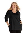 SoftWik® Womens V-Neck 3/4 Sleeve Top with Pockets-Plus Size Activewear & Athletic Clothing-Osheka, Inc-XL-Black-JunoActive