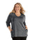 SoftWik® Womens V-Neck 3/4 Sleeve Top with Pockets-Plus Size Activewear & Athletic Clothing-Osheka, Inc-XL-Heather Grey-JunoActive