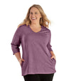 SoftWik V-Neck 3/4 Sleeve Top with Pockets Limited Edition Colors-Tops 3/4 Sleeve-Osheka, Inc-XL-Heather Merlot-JunoActive
