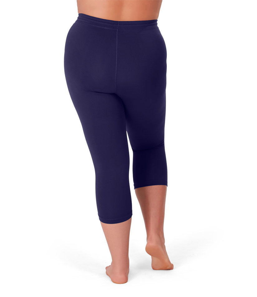 QuikWik® Long Capris In Navy Blue - JunoActive
