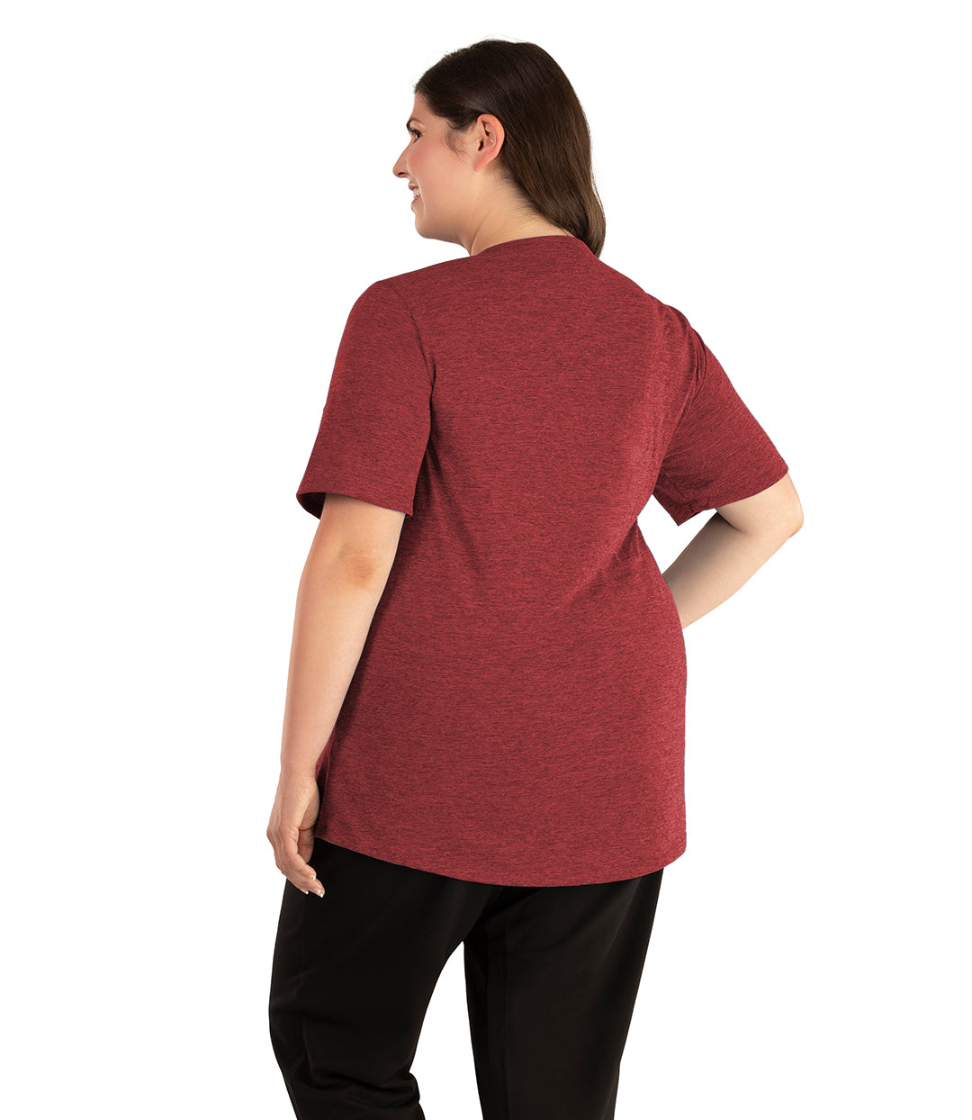 QuikLite Scoop Neck Short Sleeve Top-Tops Short Sleeve-Springtex-XL-Heather Garnet Red-JunoActive