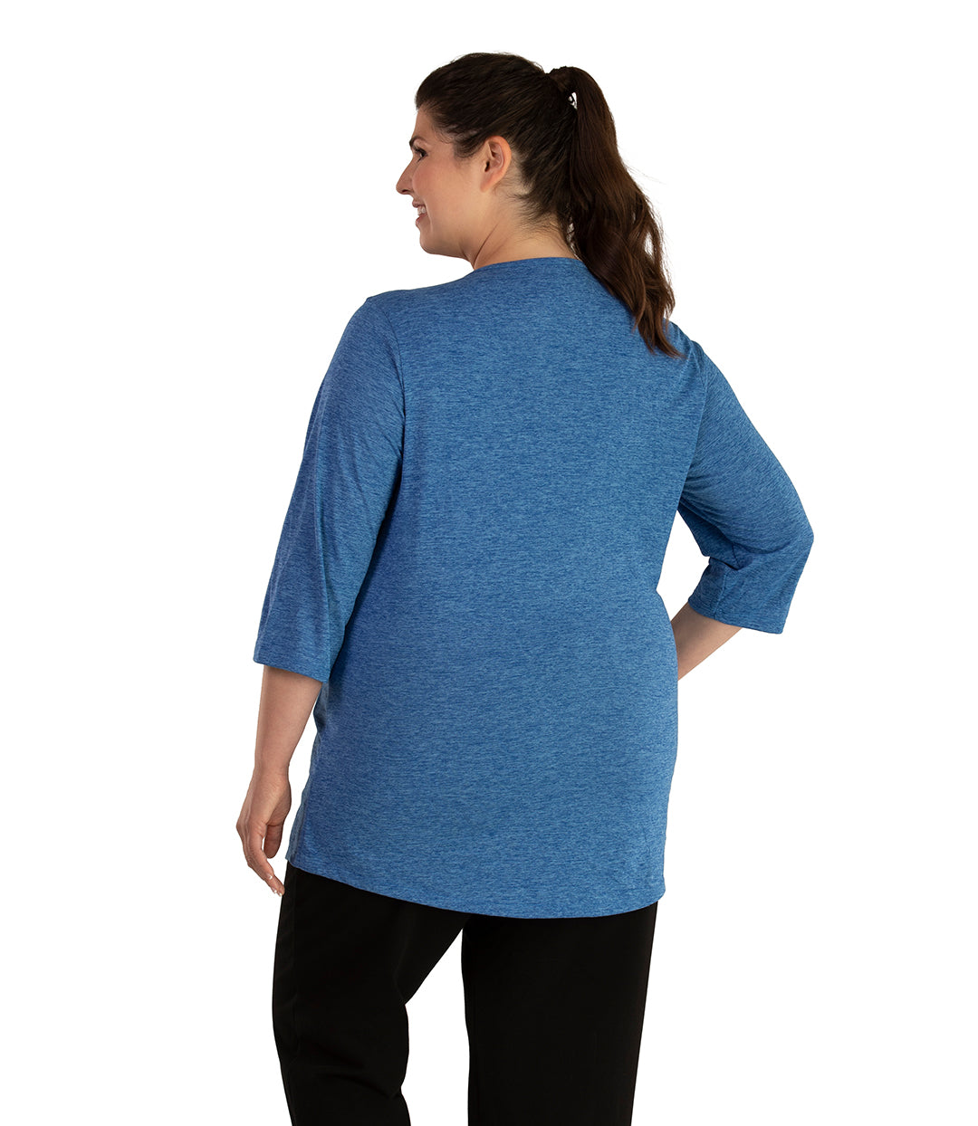 QuikLite Scoop Neck 3/4 Sleeve Top-Tops 3/4 Sleeve-Springtex-XL-Heather Blue-JunoActive