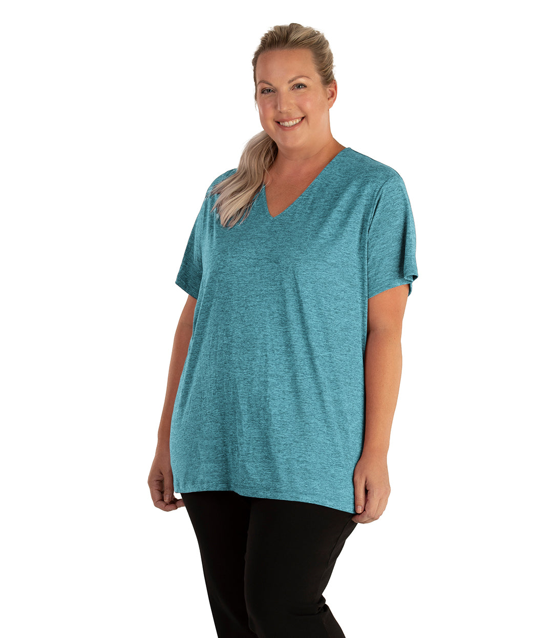 QuikLite V-Neck Short Sleeve Top-Tops Short Sleeve-Springtex-XL-Heather Deep Teal-JunoActive