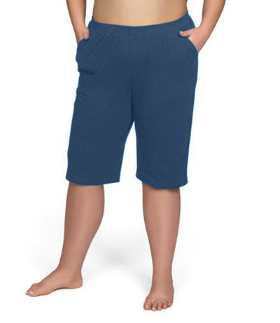 Stretch Naturals Bermuda Shorts-Plus Size Activewear & Athletic Clothing-Hop Wo Trading Co Ltd-XL-Denim Blue-JunoActive