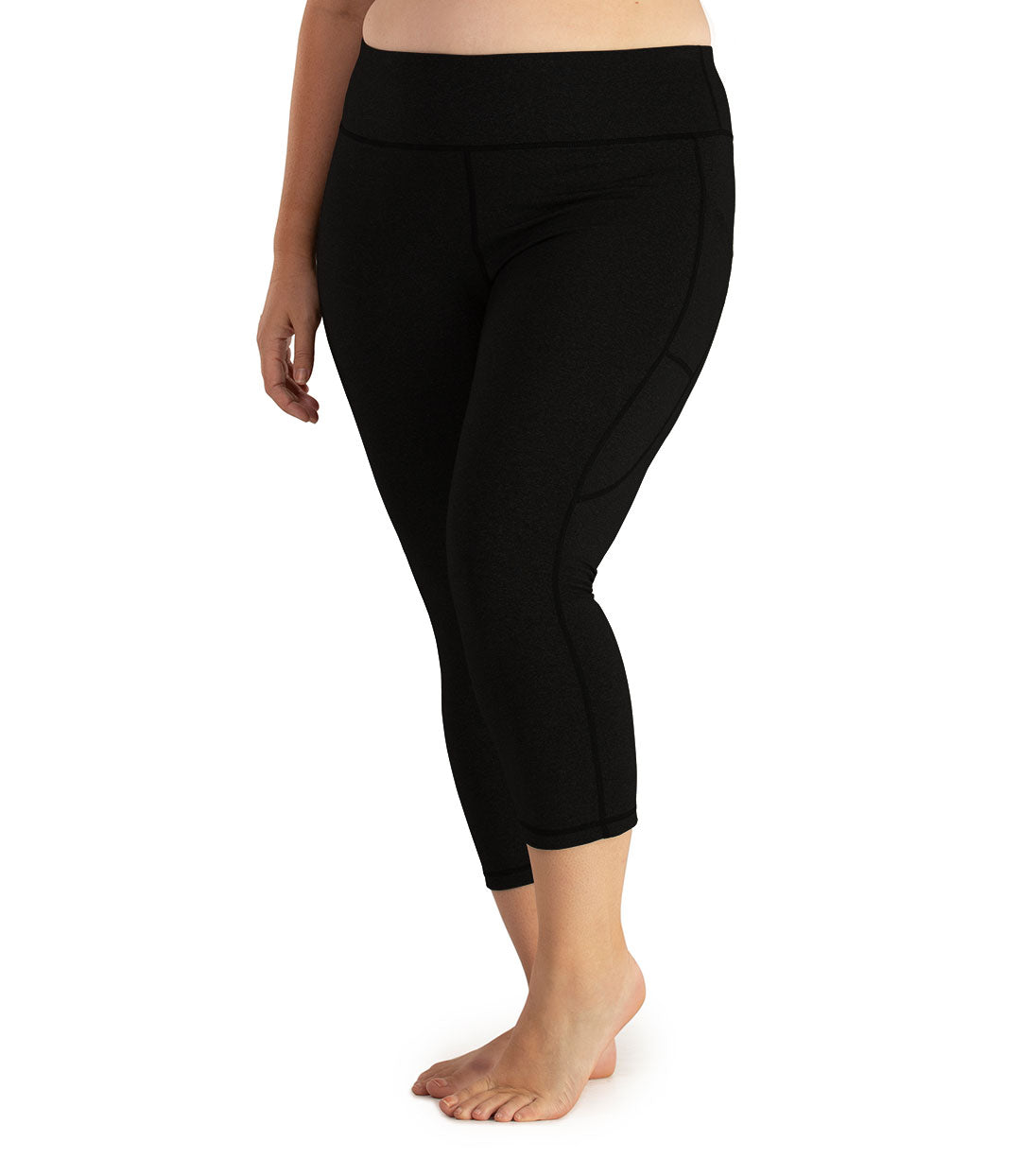 JunoStretch Side Pocket Capris Basic Colors-Bottoms Capris-Odki Sport-XL-Black-JunoActive