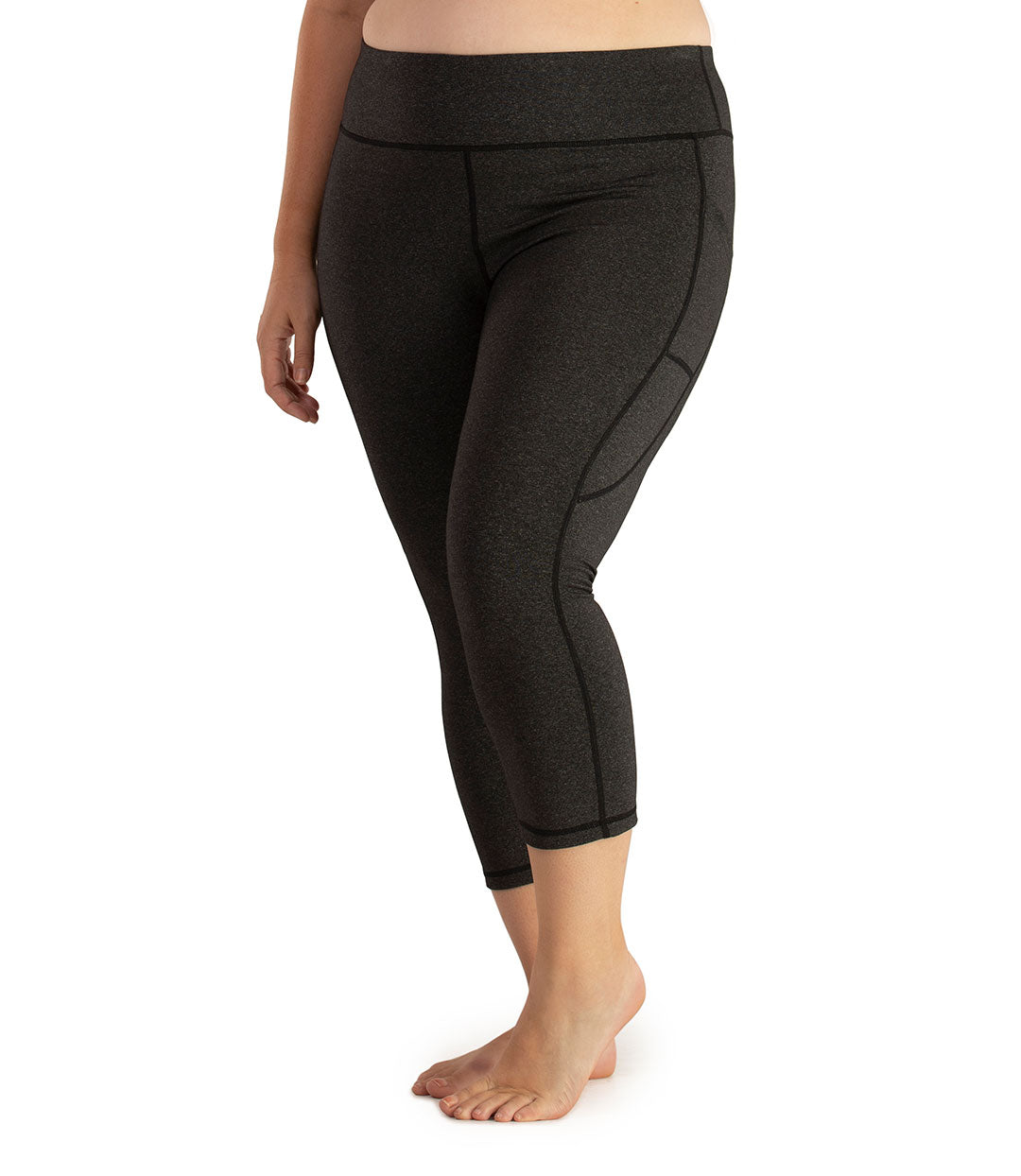 JunoStretch Side Pocket Capris Classic Colors-Bottoms Capris-Odki Sport-XL-Heather Charcoal-JunoActive