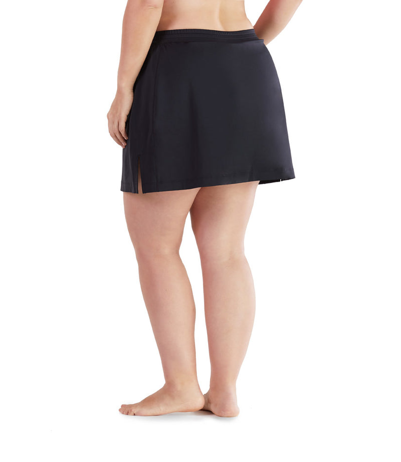 women's plus size swim skirt black