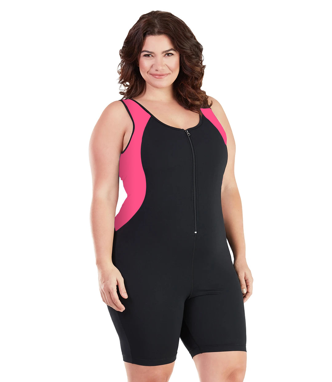 AquaSport Crossback Aquatard Pink and Black-Swim One Piece-SFO Apparel-XL-Pink/Black-JunoActive