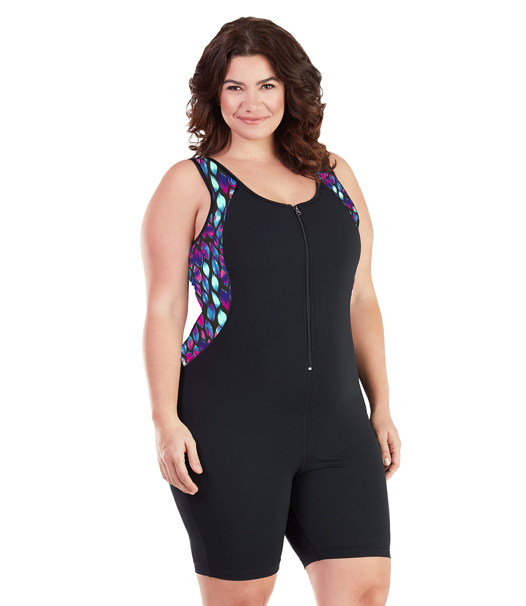 AquaSport™ Crossback Aquatard Mermaid-Plus Size Swimwear and Swim Separates-SFO Apparel-JunoActive