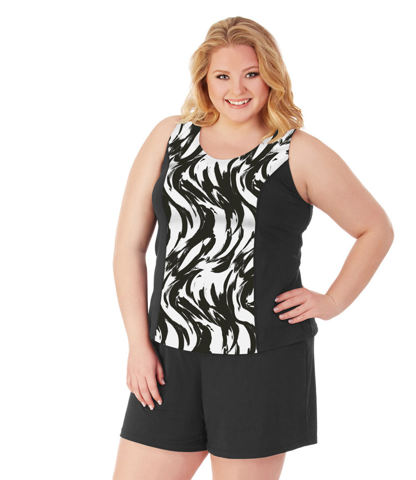 AquaSport™ Brushstroke Print Tankini Top - JunoActive
