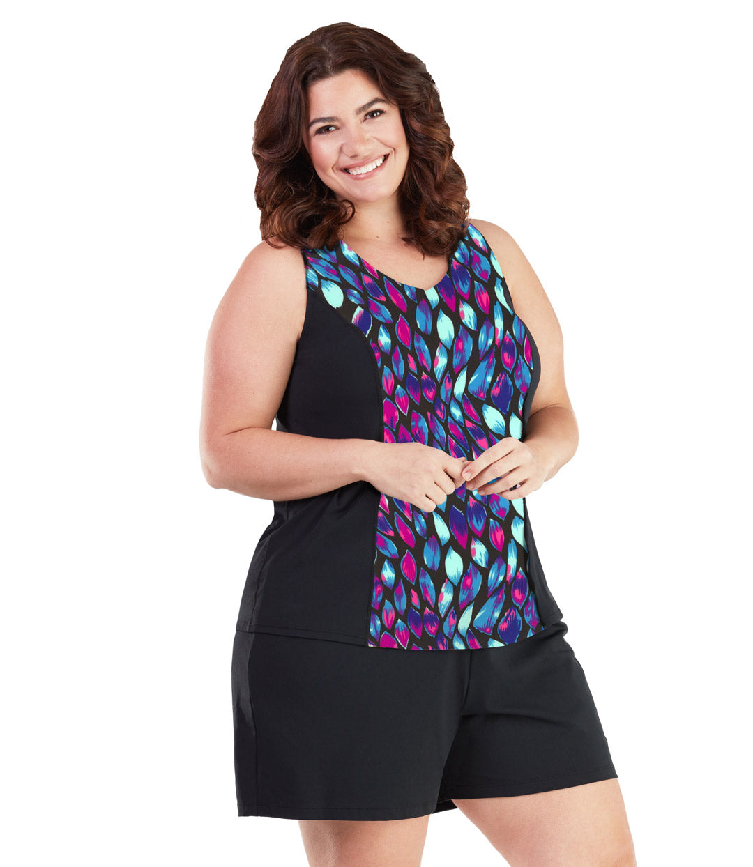 AquaSport Tankini Top in Mermaid Print-Plus Size Swimwear and Swim Separates-SFO Apparel-1X-MERMAID-JunoActive