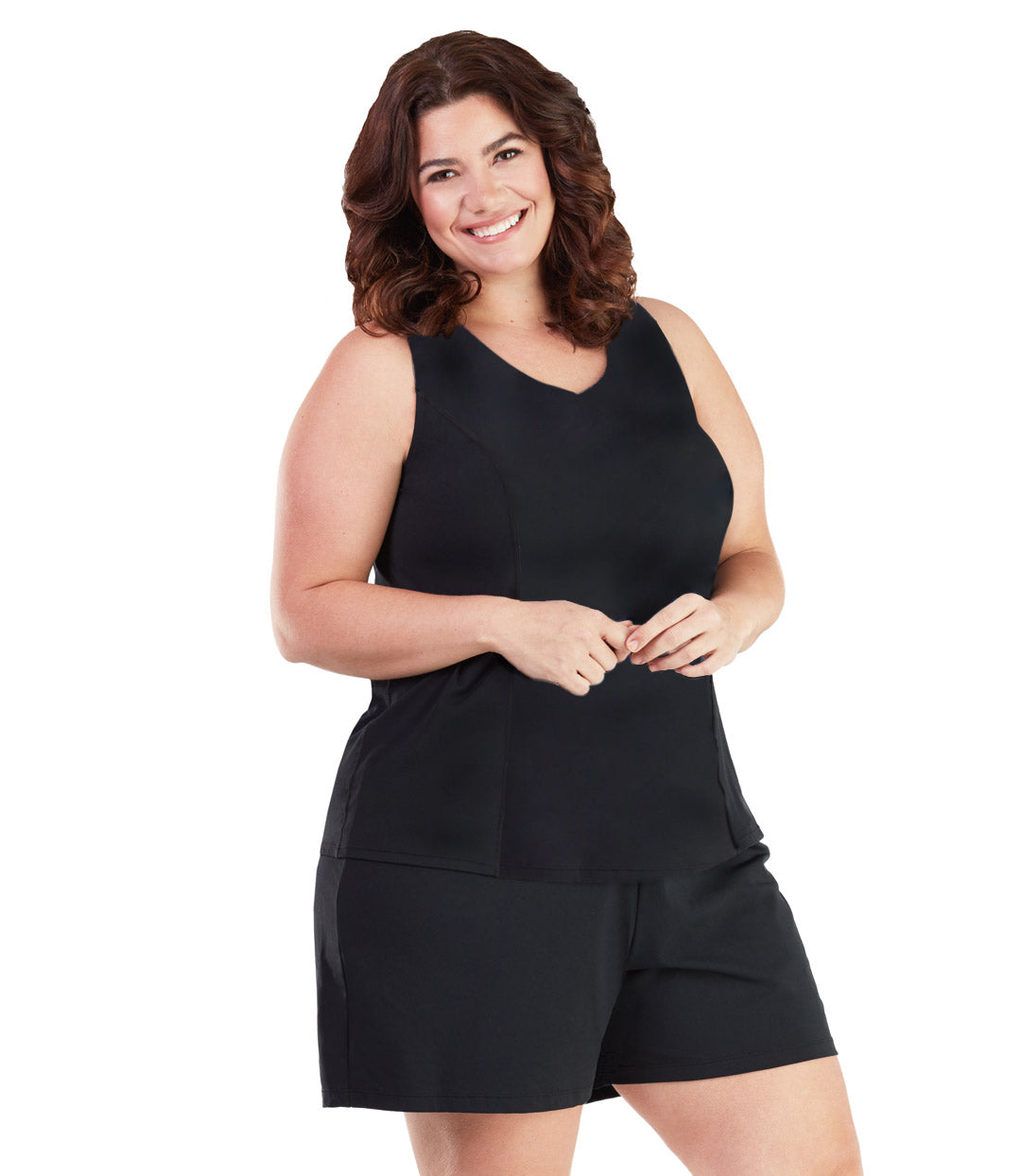 AquaSport™ Tankini Top in Black-Plus Size Swimwear and Swim Separates-SFO Apparel-JunoActive