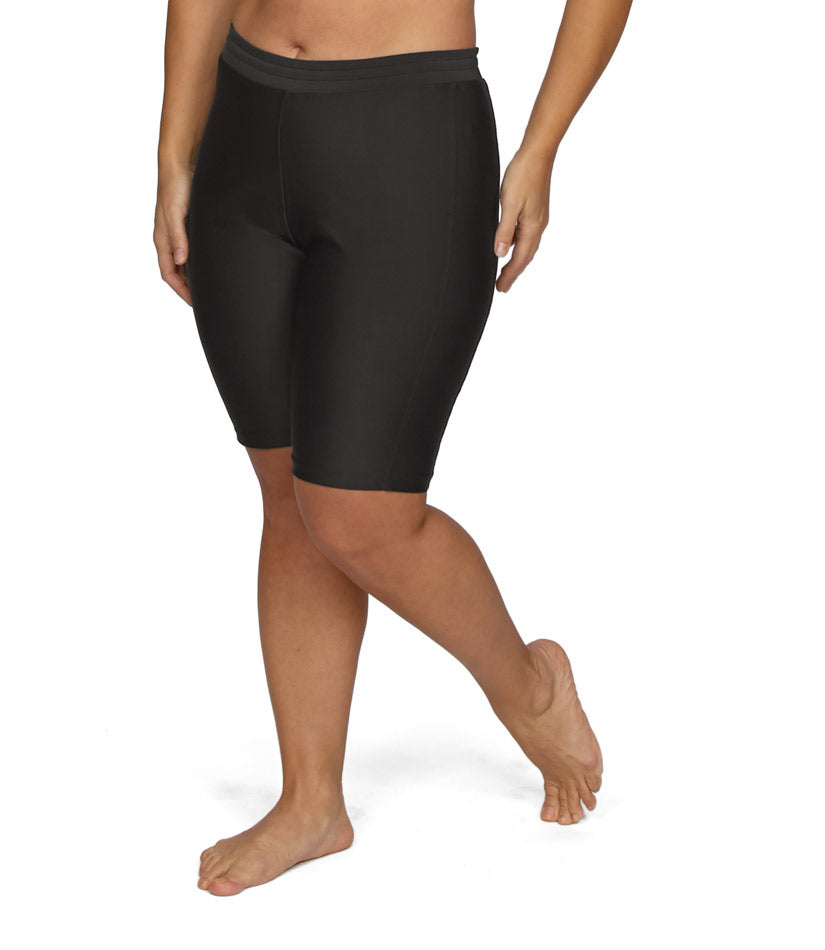 4a10359371e womens plus size swim shorts long black