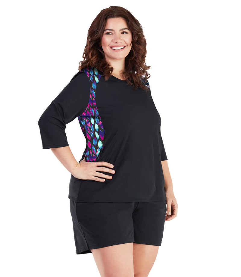 AquaSport Three Quarter Sleeve Rash Guard - Mermaid-Plus Size Swimwear and Swim Separates-SFO Apparel-1X-MERMAID-JunoActive