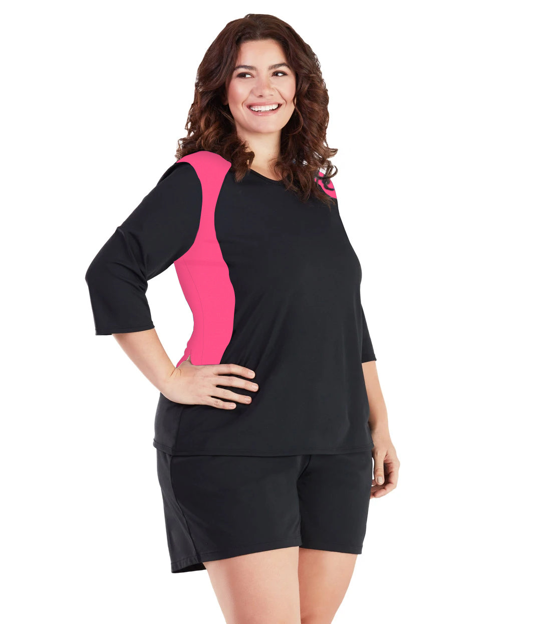 AquaSport Three Quarter Sleeve Rash Guard - Pink and Black-Swim Tops-SFO Apparel-XL-Pink/Black-JunoActive