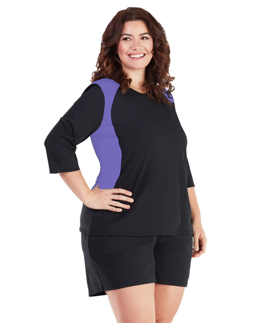 AquaSport Three Quarter Sleeve Rash Guard - Purple and Black-Swim Tops-SFO Apparel-XL-Purple/Black-JunoActive