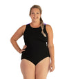 AquaSport Crossback One Piece Swimsuit Purple Black-Swim One Piece-SFO Apparel-JunoActive